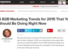 Marketing Tips for 2015 from Entrepreneur Magazine