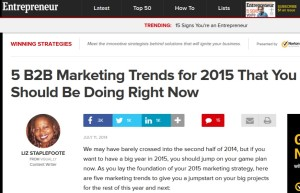 Entrepreneur Magazine's Liz Staplefoote shares 5 Marketing Trends for 2015